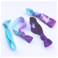 Ombré Hair Ties •The Fading Away Set• (purple and aqua french ties)