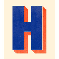 The Letter H, Original Art Print, Typography, Alphabet, Monogram, Navy Blue, Red Orange