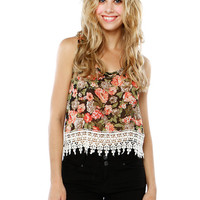Papaya Clothing Online :: TRIMMING FLORAL CHIFFON TOP