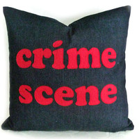 Funny Man Cave Pillow CRIME SCENE Fathers Day by PillowThrowDecor