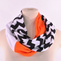 Chevron Infinity Scarf Zig Zag Stripe Black Orange Baltimore Orioles Giants baseball women Infinity scarf Loop Circle jersey