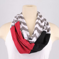 Chevron Infinity Scarf Zig Zag Stripe Falcons Buccaneers Gray Black Red women lightweight Infinity scarf Loop Circle jersey