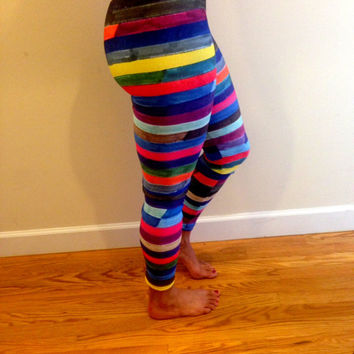 Colorful Striped Leggings - Broken Stripes