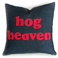Funny Man Cave Pillow HOG HEAVEN Fathers Day by PillowThrowDecor