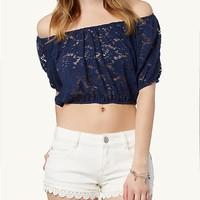 Lace Crop Peasant Top