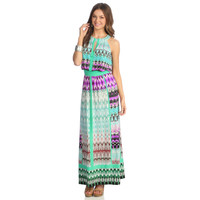 London Times Women's Multicolor Printed Halter Maxi Dress