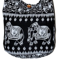 "Elephant Vintage Cotton Printed Cross Body Sling Shoulder Hobo Boho Hippie Messenger Purse Bag Black 33"" Length"