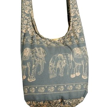 BTP! Elephant Sling Crossbody Shoulder Bag Purse Hippie Hobo Thai Cotton Gypsy Bohemian Small Grey ME6