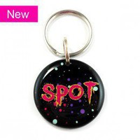 Splatter Artsy 80's Neon Pet Id Tag - Happy Tags
