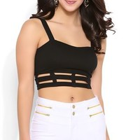 Crop Tank Top with Cutout Cage Bottom
