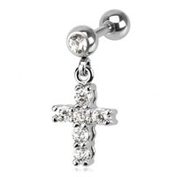Clear Gemmed Cross Dangle Cartilage Earring Body Jewelry Piercing