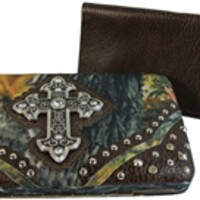 Western Style Flat Wallet Camo with Rhinestone Cross Includes Removable Checkbook Cover- Choice of Colors