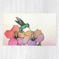 Hummingbird and Hibiscus Area & Throw Rug by Lorri Leigh Art | Society6