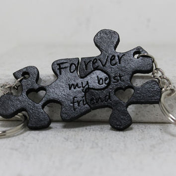 Friendship Puzzle piece key chains Forever my best friend quote Hand dyed Leather