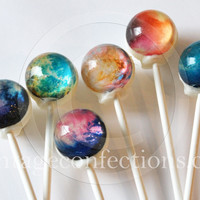 Nebula edible image lollipops by Vintage Confections