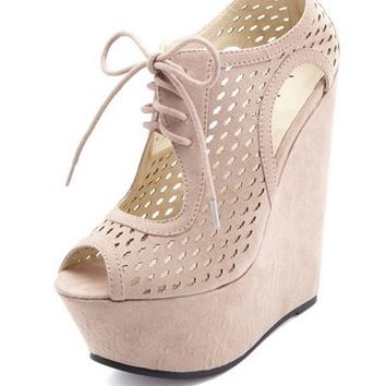 LASER-CUT PEEP TOE LACE-UP PLATFORM WEDGES