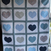 Hand made baby quilt Blue Hearts design hand by purrfectstitchers