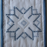 Hand made mini quilt blue star cross stitch by purrfectstitchers