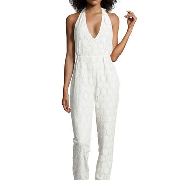 Boutique Lela Low V Neck Lace Jumpsuit