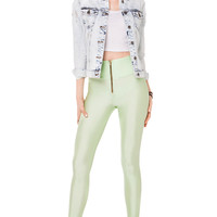 High Waist Zip Front Leggings in Mint