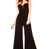 Deep V Neck Strapless Jumpsuit