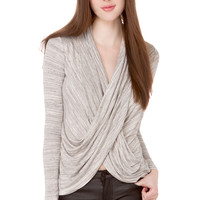 Melange Knit Cowl Front Top