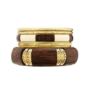 Golden Etched & Wooden Bangles - 5 Pack