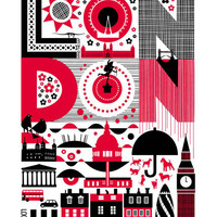Maria Dahlgren London Tea Towels - Red