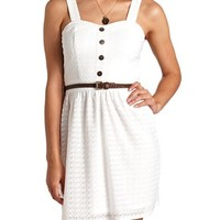 BUTTON-UP BELTED LACE DRESS