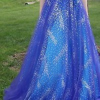 Formal JOVANI strapless PROM DRESS 706 Purple Blue Silver Aqua Long & GEMS sz 2