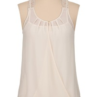 chiffon wrap front tank with crochet