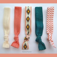 SOUTHWEST Hair TIES, Aztec Design, 5pc set, Teal, Coral, Chevron, No Tug Yoga hair bands, Mother's Day Gift, Red Chevron Silver Glitter