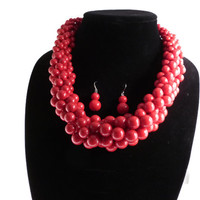 Coral Red Chunky Bead Necklace + Earring Set