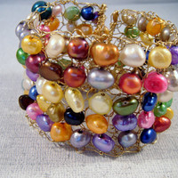 Hand Knitted Bronze Multi-Colored Pearl Bracelet