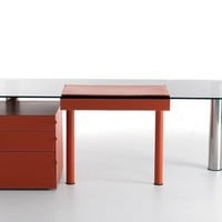 Glass office desk with drawers ABACO by Fasem International | design Andrea Branzi
