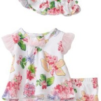 Vitamins Baby Girl Newborn Butterfly Floral Three-Piece Diaper Set With Hat