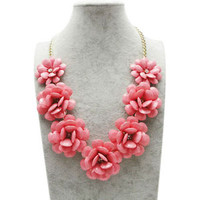 Pink Big Flower Gold Chain Necklace Rhinestone Acrylic Beads Bib Statement A02