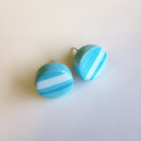 Round Stud Earrings {Striped Turquoise, Polymer Clay}