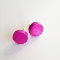 Round Stud Earrings {Fuschia, Polymer Clay}