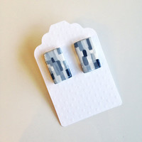 Rectangle Stud Earrings {Shade of Grey, Polymer Clay}