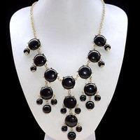 Black Fashion Bubble Gold Chain Rhinestone Chunky Bib Statement Necklace A02