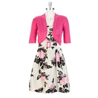 Jessica Howard Petite Floral Shantung Dress with Shrug at Von Maur