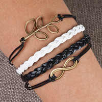 Fashion Silver Bangle Leather Love cross Golden Black Friendship Charm Bracelets