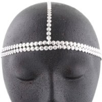 2 Pieces of Metallic Silver Circles Double Row Style Head Chain