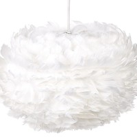 Eos Feather Hardwired Pendant, White