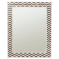Chevron Mirror, Ivory/Gray