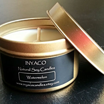 Watermelon Soy Candle 6oz Gold Tin