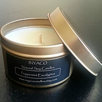Peppermint Eucalyptus Soy Candle 6oz Gold Tin