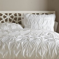 Organic Pintuck Duvet Cover, King, White