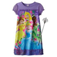 "Girls Disney Purple Princess ""Spring Beauty"" Nightgown with Wand"